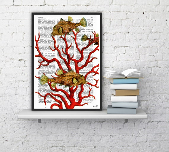 Coral Vintage Book Print Dictionary or Encyclopedia Print-Book print Coral and yellow fishes Print on Vintage Dictionary Bookart BPSL041