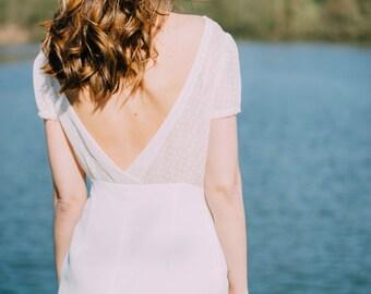 Robe blanche bi-matière dos nu
