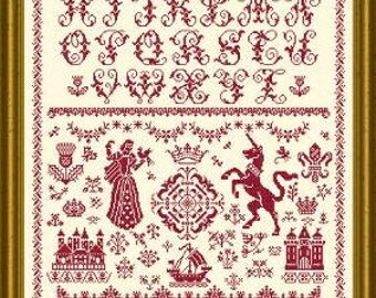 Mary Queen of Scots cross stitch pattern by Papillon Creations monochromatic Scotland In my end is my beginning