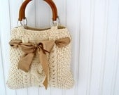 Custom order for Toni. Knit gray tote of medium size.  Cable knitted beige tote bag with tan bow.