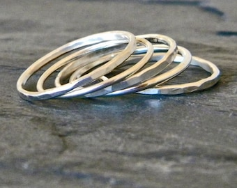 Sterling Silver Midi Ring Set - Simple Ring Set - Knuckle Ring Set - Silver Layering Ring - Okay to Order Different Sizes - Size 2 - 14 Ring