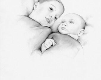 Custom Portrait Child's Portrait Children's Personalized Original Hand Drawn Portrait from Your Photograph Baby Shower Gift Baby Portrait