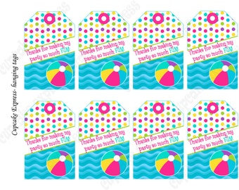 DIY Pool Party beach Birthday Party  PRINTABLE Thank You favor Tags  summer  blue lime green pink yellow beach ball flip flops 1070