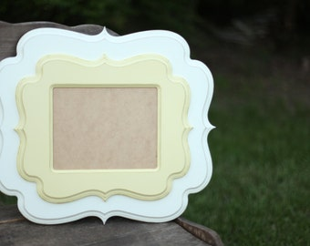 8x10 double stacked picture frame handmade frame, whimsical picture frame, distressed picture frame