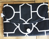 Travel Changing Pad - Diapering on the Go - Black with white Design