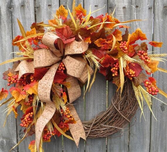 Fall Wreath, Fall / Autumn Wreath, Fall Cork Wreath, Rich Colorful Designer Fall Wreath With Bow, Harvest Decoration