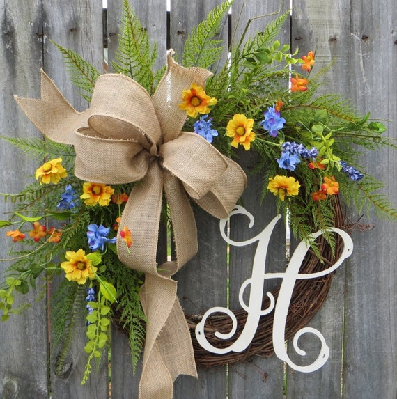 Spring Wreath with Monogram
