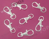 20 - Swivel Lobster Clasp, Parrot Clasp, Snap Hook, Platinum Silver Lobster Clasp, 35mm x 13mm, Hole: 15mm (R9-033)