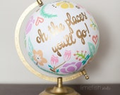 CUSTOM Hand-Painted Globe . Made-to-order . 12 inches . Any Color, Any Style, Any Quote