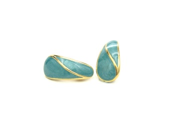 Trifari Earrings.  Curved Gold, Teal Blue Swirled Enamel. Crown Trifari Jewelry. Vintage 1960s Turquoise Enameled Jewelry