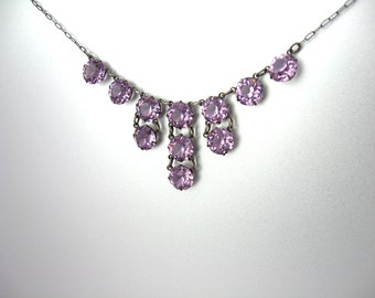 Art Deco Crystal Necklace. Open Back Crystals. Amethyst Pink Fringe Choker. Sterling Silver Paperclip Chain. Vintage 1920s Art Deco Jewelry.