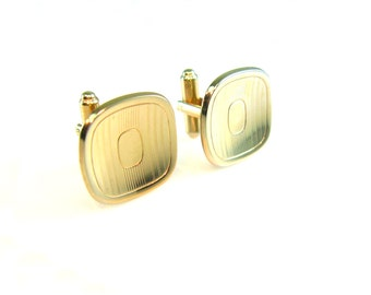 Mens Cuff Links. Polished Gold Tone, Geometric Engraved Square. Signed Hickok. Vintage 1950s Retro Accessory, Wedding Groom Best Man