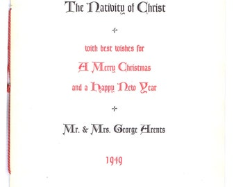 The Nativity of Christ Poems Antique Vintage Forties era Christmas Keepsake from Arents 1948 Typography Printed Ephemera