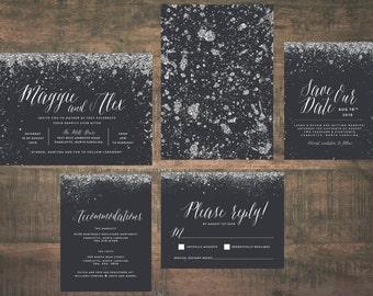 Printable Silver Wedding Invitation Suite   Invitation Suite, Wedding Set, Silver and Black Wedding, Metallic Wedding Invitation Suite