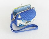 Lovely Blue Roses Clutch Purse, Coin Purse, Metal Frame Purse