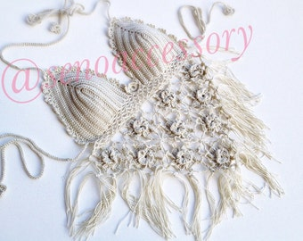 Beige Crochet Halter Top Women Swimwear Beach Wear Summer Accessories Boho Bikini Swimsuit Tank Top Festival Top senoaccessory