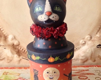 Folk Art One of a kind Halloween WITCH cat vintage style Primitive candy container HAFAIR Penny Grotz