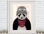 Panda Print, Aviator Poster, Drawing Illustration Digital Print Mixed Media  Art Poster Acrylic Painting Holiday Decor Drawing Gifts
