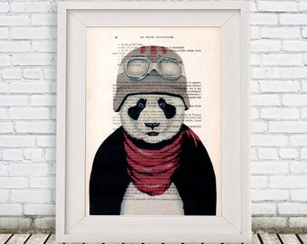 Panda Print, Aviator Poster, Drawing Illustration Digital Print Mixed Media  Art Poster Acrylic Painting Holiday Decor Drawing Gifts