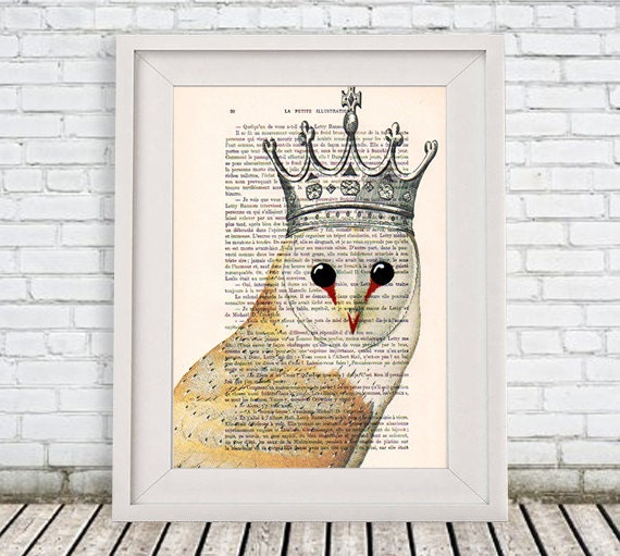 Woodlands Owl Print, Owl with Crown, Owl Painting, A4 Size, Brown, Gift for Men, Wall Art Prints, Woodlands Decor, Original Owl Artwork