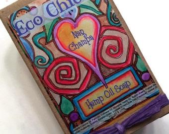 Nag Champa Soap - Handmade Soap with Hemp Oil & Hemp Seeds - Gift Wrapped TOO!