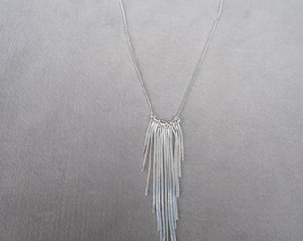 Strands of 1mm Silver Snake Chain Contemporary Dangling Necklace