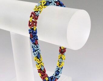 Autism Awareness Byzantine Bracelet, Chainmail Bracelet Chainmaille Bracelet, Chain Mail Jewelry, Autism Bracelet
