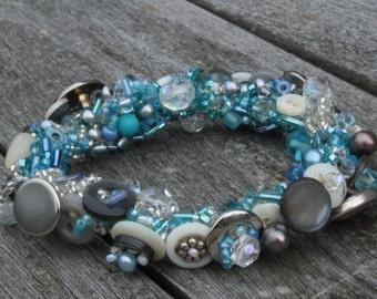 Blue and Silver Vintage Button Bracelet, Stretch Size Med