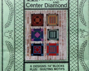 Amity Amish Inspired Design BARS And CENTER DIAMOND - Applique Quilt Pattern Template