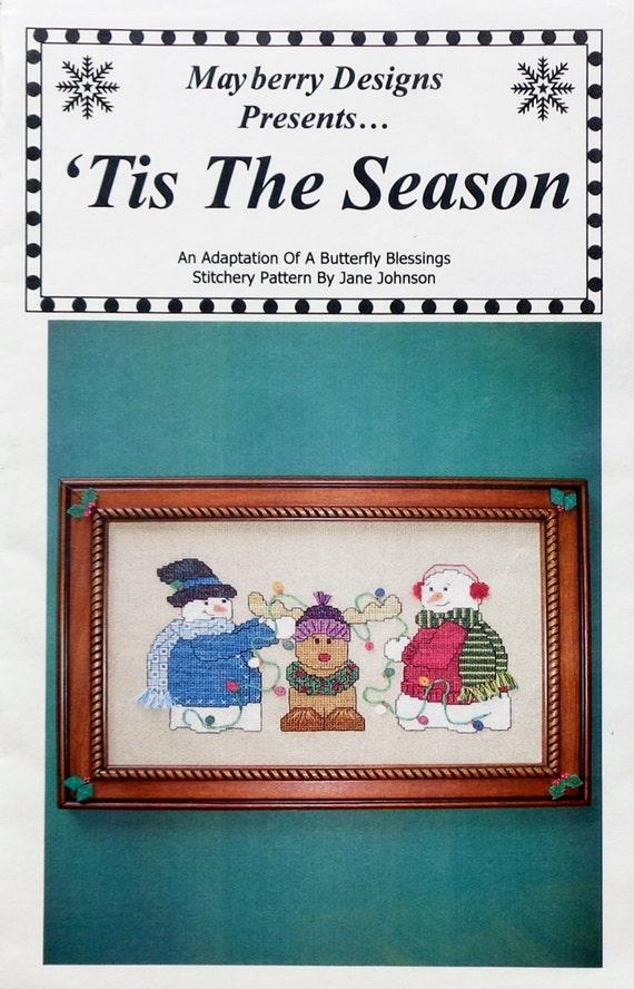 Cross Stitch Pattern Tis The Season Snowman By Mayberry