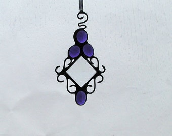 Stained Glass,Suncatcher,Periwinkle, Home Decor, Bevel, Decorative, Ornament, Victorian, Window Art, Blue glass nuggets