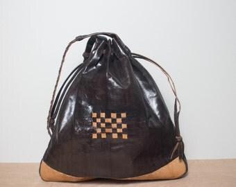 Brown & Tan Leather Oversized Shoulder Bag Purse
