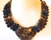 Acai Seed and Coconut Pendant  Necklace (Eco Friendly and Eco Fashion Jewelry) Statement Necklace