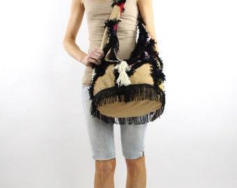 ON SALE fringe Crossbody bag  beach bag mod bag mod purse Hobo bag fabric handbags patchwork bag gift for her 70s bags bag with fringes
