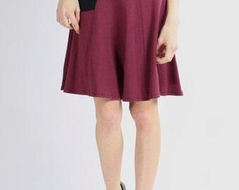 ON SALE Before 110 Dollars Skirt Fit and Flare Asymmetrical Geometric Black  Burgandy bamboo midi modern wine Rose Temple