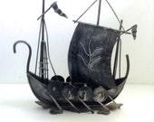 1970, Vintage Decor. Viking Metal Ship.  Mod, pop, Mid century, Nordic Modern, Eames era.