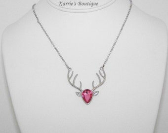 Rhinestone Deer Necklace / Pink + Silver / Camo / Flower Girl / Wedding / Photo Prop / Pageant / Hunting Princess / Toddler / Girl / Adult