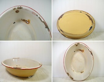 Vintage Red on White EnamelWare Porcelain Oversize Oval Yellow Bowl - Very Rustic FarmHouse Primitive Porcelain Basin - Will Not Hold Water