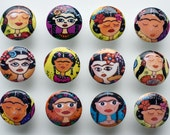 Wooden Knobs cabinet drawer pulls Frida Khalo inspired Friditas cabinet door knobs 1 1/2 inches set of 3
