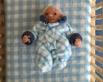 Dollhouse Baby Doll - 1/12 Scale Boy - Handmade OOAK Polymer Clay - Moveable Arms and Legs - Micah Timothy