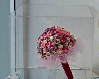 Wedding Button Bouquet in Pink / Cream mix