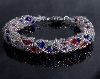 Red, White and Blue Swarovski Crystal and Czech Glass Netted Bead Bracelet with Magnetic Clasp