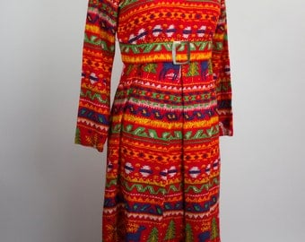 Psychedelic Fair Isle Mexican 70s Long Belted Red Dress