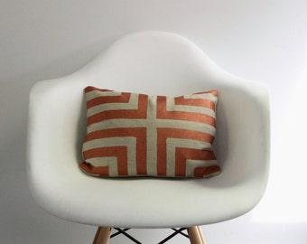 "Doha 12x16"" pillow cover hand printed in metallic copper on natural ecru organic hemp"