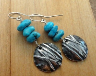 Sterling Silver & Turquoise Fold Formed Earrings