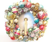 Christmas Wreath Loaded with Vintage Rhinestone Jewelry, Shiny Brite Ornaments, Mid Century Angels, Virgin Mary, 60s Kitsch