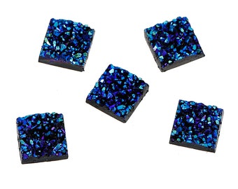 10 Resin BLUE METALLIC RAINBOW Glitter Druzy Square Cabochons, faux druzy, 12mm, cab0445a
