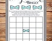 Bingo Baby Shower Game, Teal, navy, Bowtie, Bowtie Bingo, INSTANT Download - 5x7, Teal, Navy, Gray, Bow tie, Linen, Shower Bingo, 1574