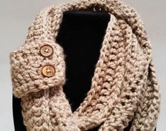 Chunky Crochet Infinity Scarf-Chunky Cowl-Button Scarf Circle Scarf