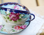 Rich Antique Tea Cup and Saucer, Hand Painted,  Dark Red Roses